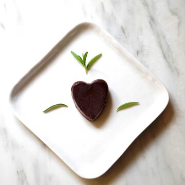 Vegan Chocolate Truffles for Valentine's Day with rosemary and pine nuts