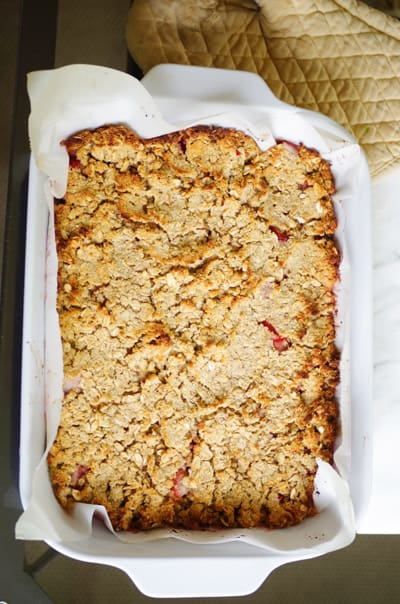 Fresh-baked strawberry rhubarb crisp in a 9x13 pan