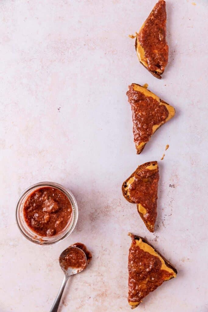 Italian plum jam on toast triangles