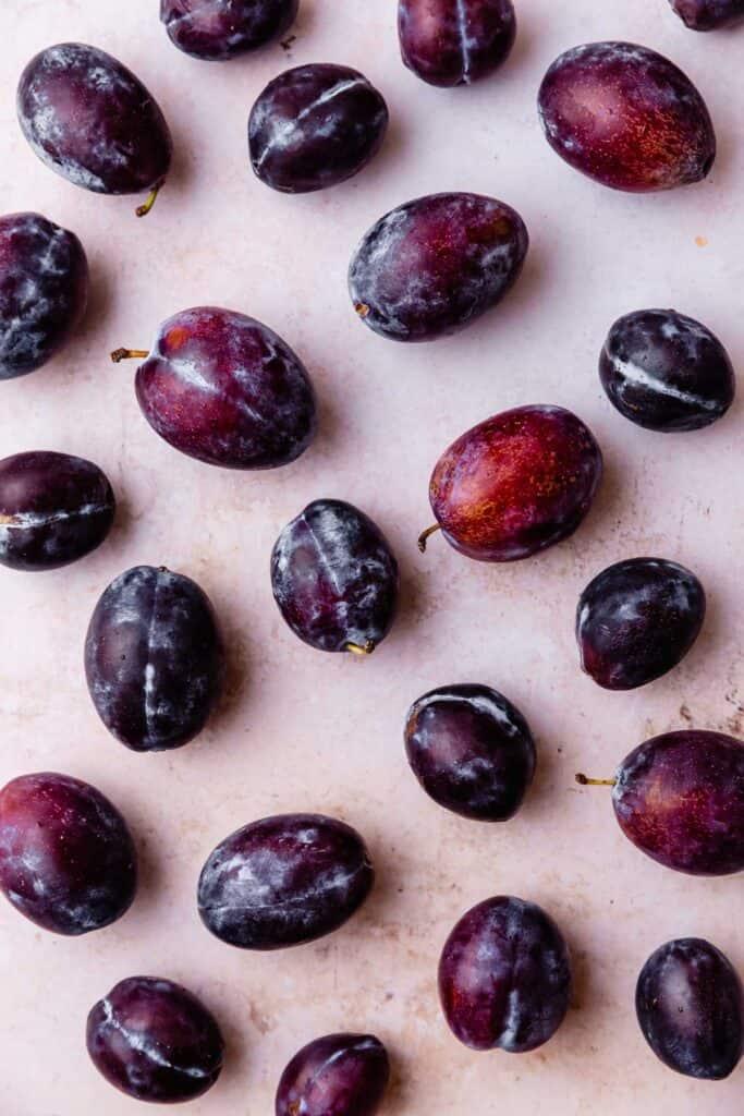 Italian plums flatlay