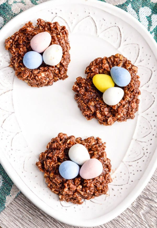 Chocolate-nest-cookies-topped-with-candy-eggs