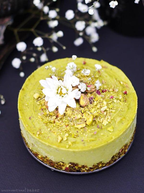 Raw pistachio-colored orange blossom cake