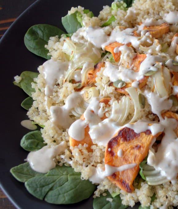 Roasted veggie quinoa salad with creamy dressing