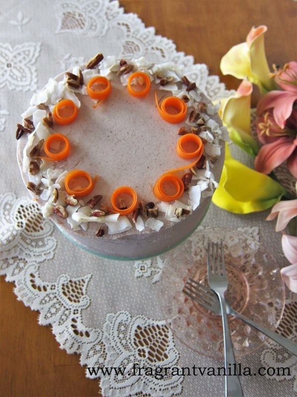 Carrot cake topped with carrot roses