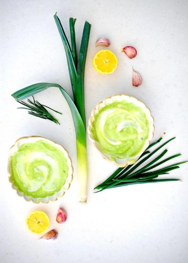 Bright green zucchini leek soup