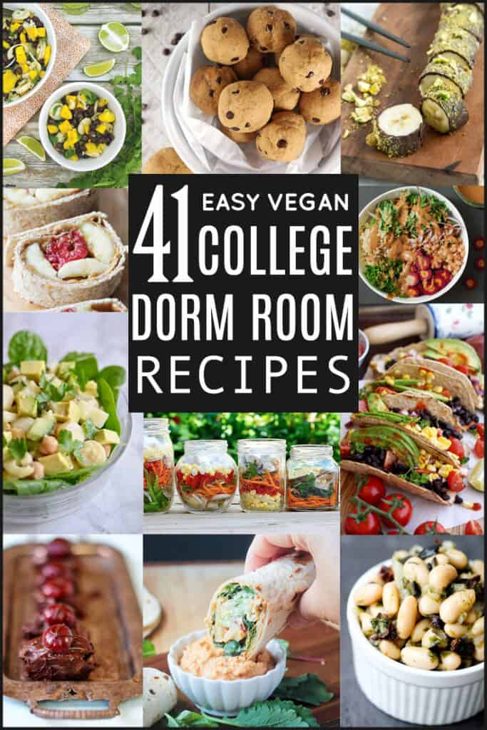 A collage of vegan salads, desserts, breakfasts, dinners, and snacks that can be made in a dorm room