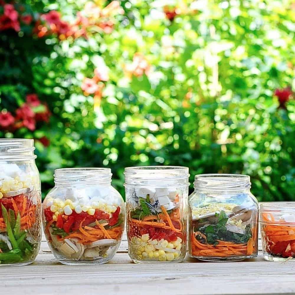 miso soup ingredients stacked in various jars