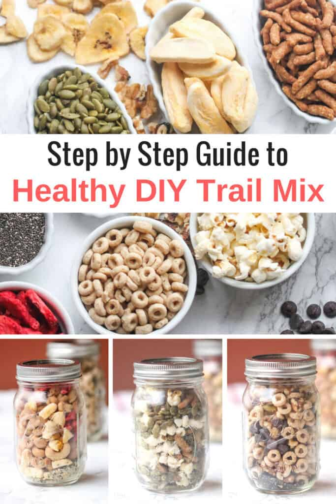 trail mix ingredients and jars filled with mix