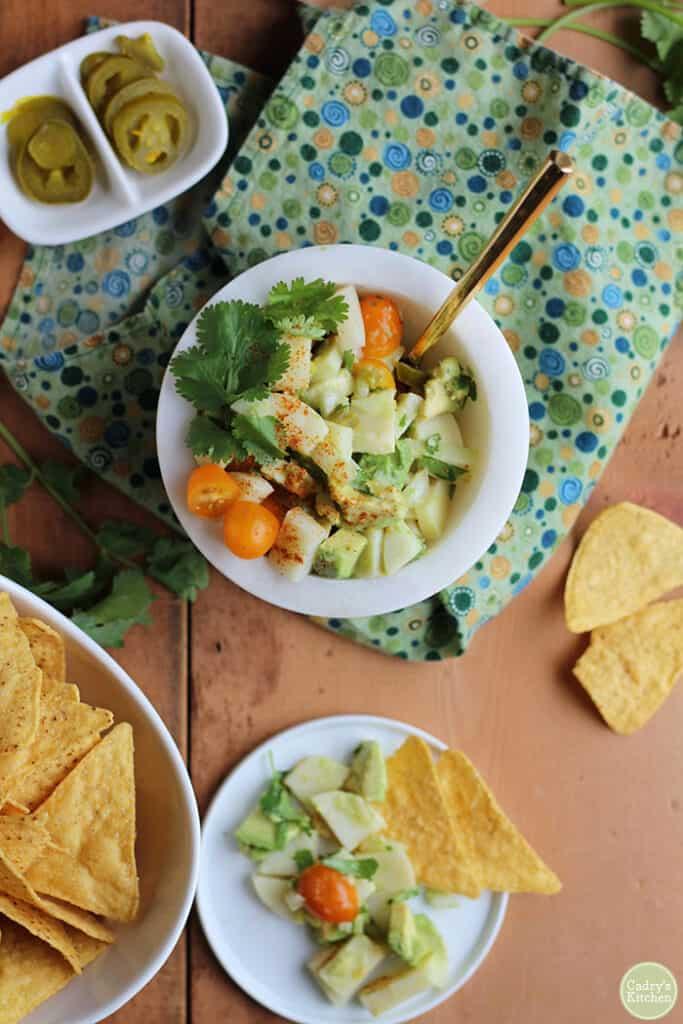 vegan ceviche in a bowl