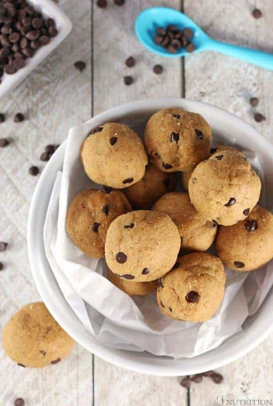 several cookie dough balls in a bowl