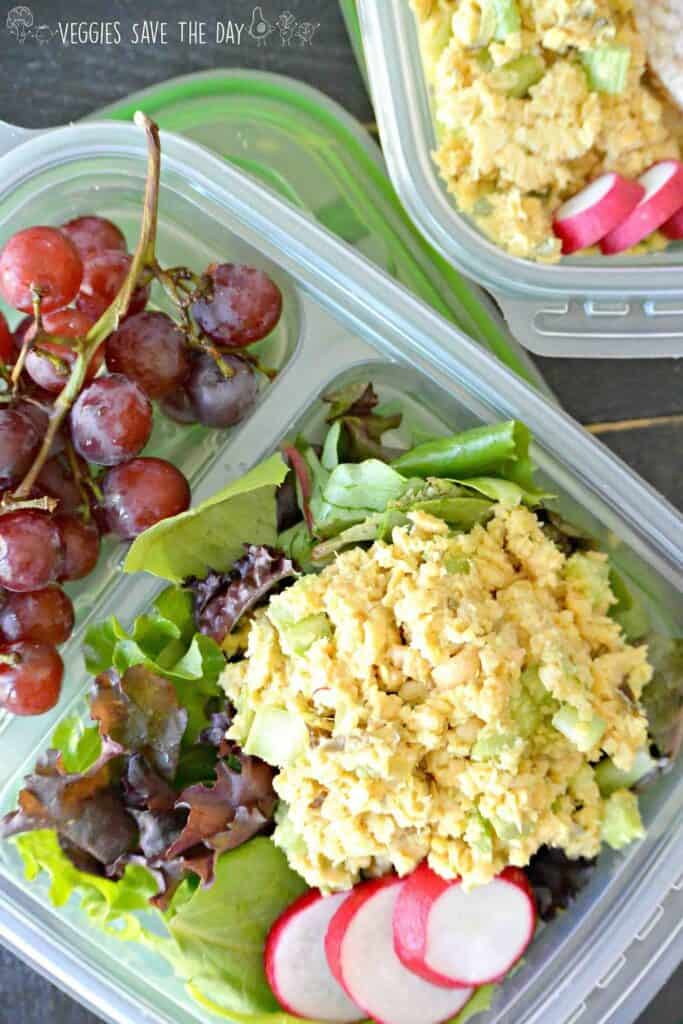 vegan tuna salad with greens and radish in a travel container