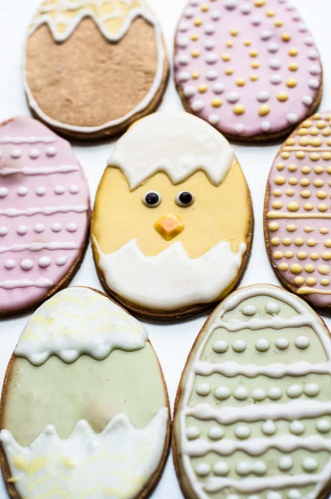 Egg-shaped frosted vegan cookies