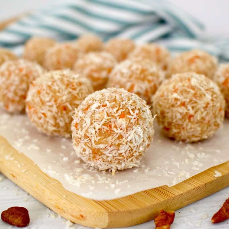 Carrot cake energy bites rolled in coconut
