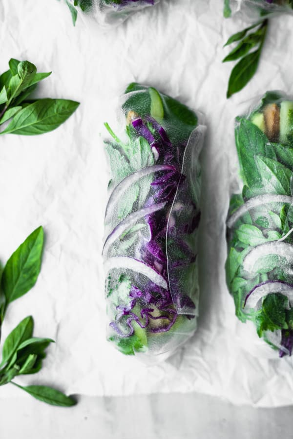 a green and purple summer roll