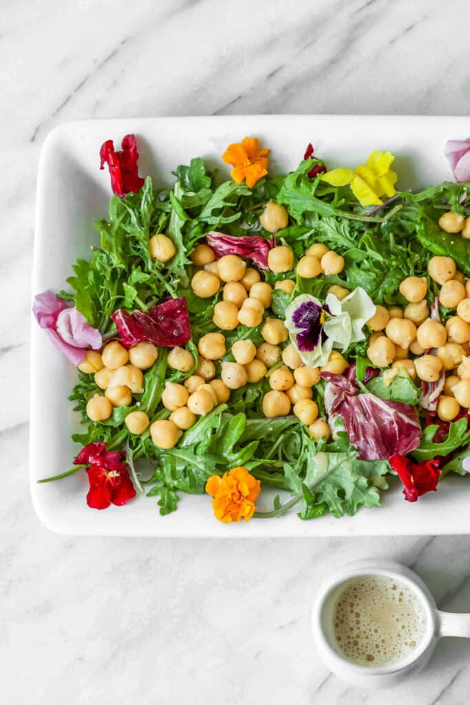 Spring Salad with edible flowers and chickpeas