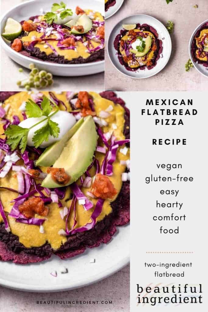 flatbread pizza topped with vegan mexican ingredients, three image collage