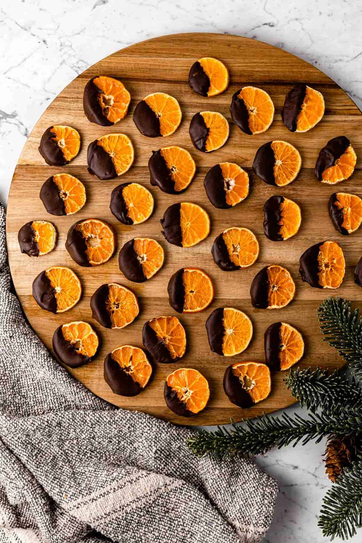 Chocolate-Dipped Dried Satsuma Slices served up