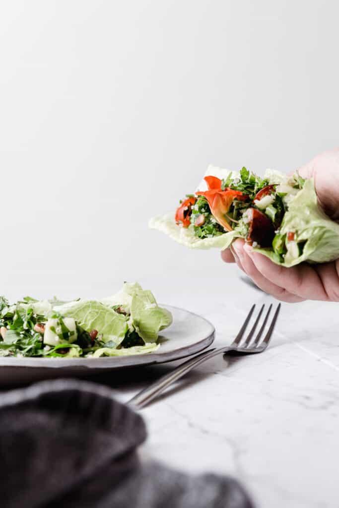 Quinoa Tabbouleh Lettuce Wraps are delicious!