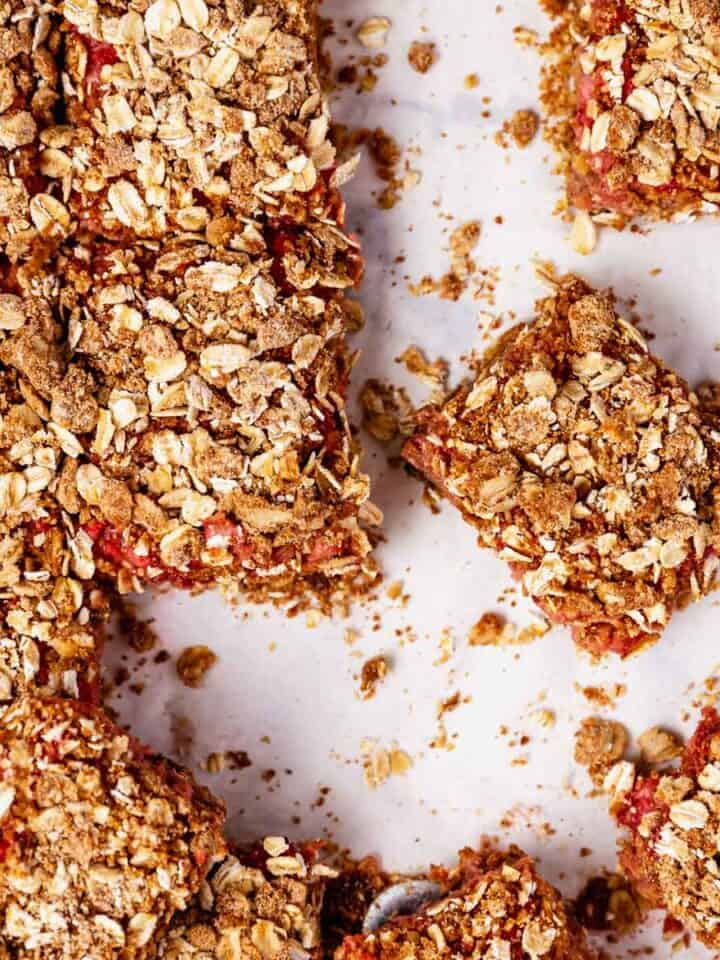 strawberry rhubarb bars scattered