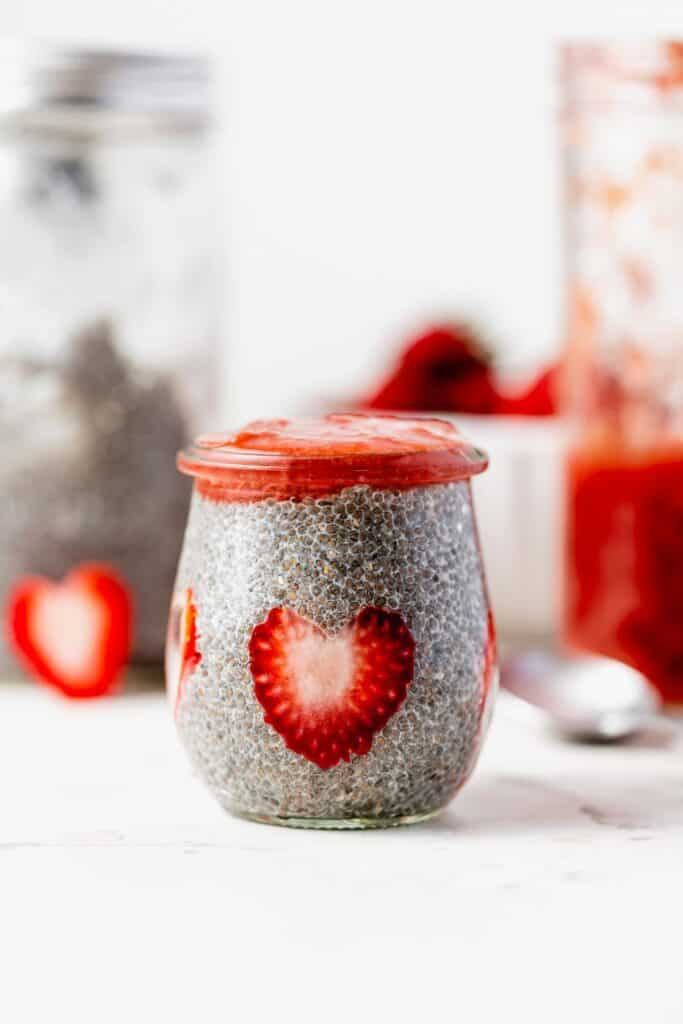 chia pudding topped with strawberry rhubarb compote