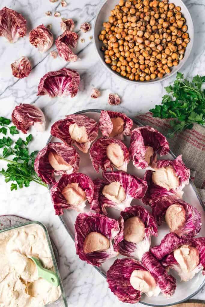 radicchio leaves stuffed with hummus
